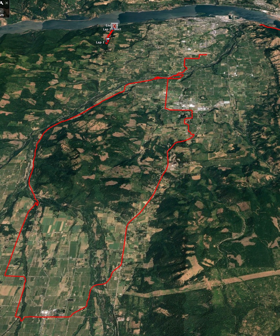 The Google Earth view of our road ride - 50 km in total!