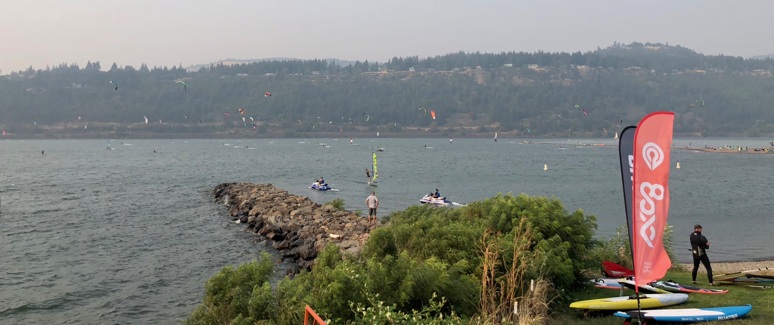 A view out over the event site and all the kite boarders and wind surfers.
