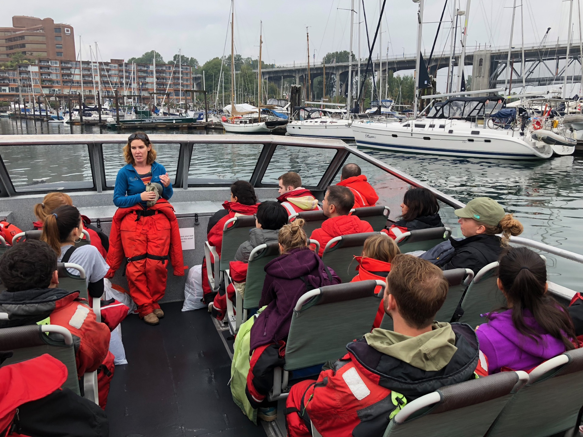 Our briefing as were were about to head out on a grey, overcast morning.