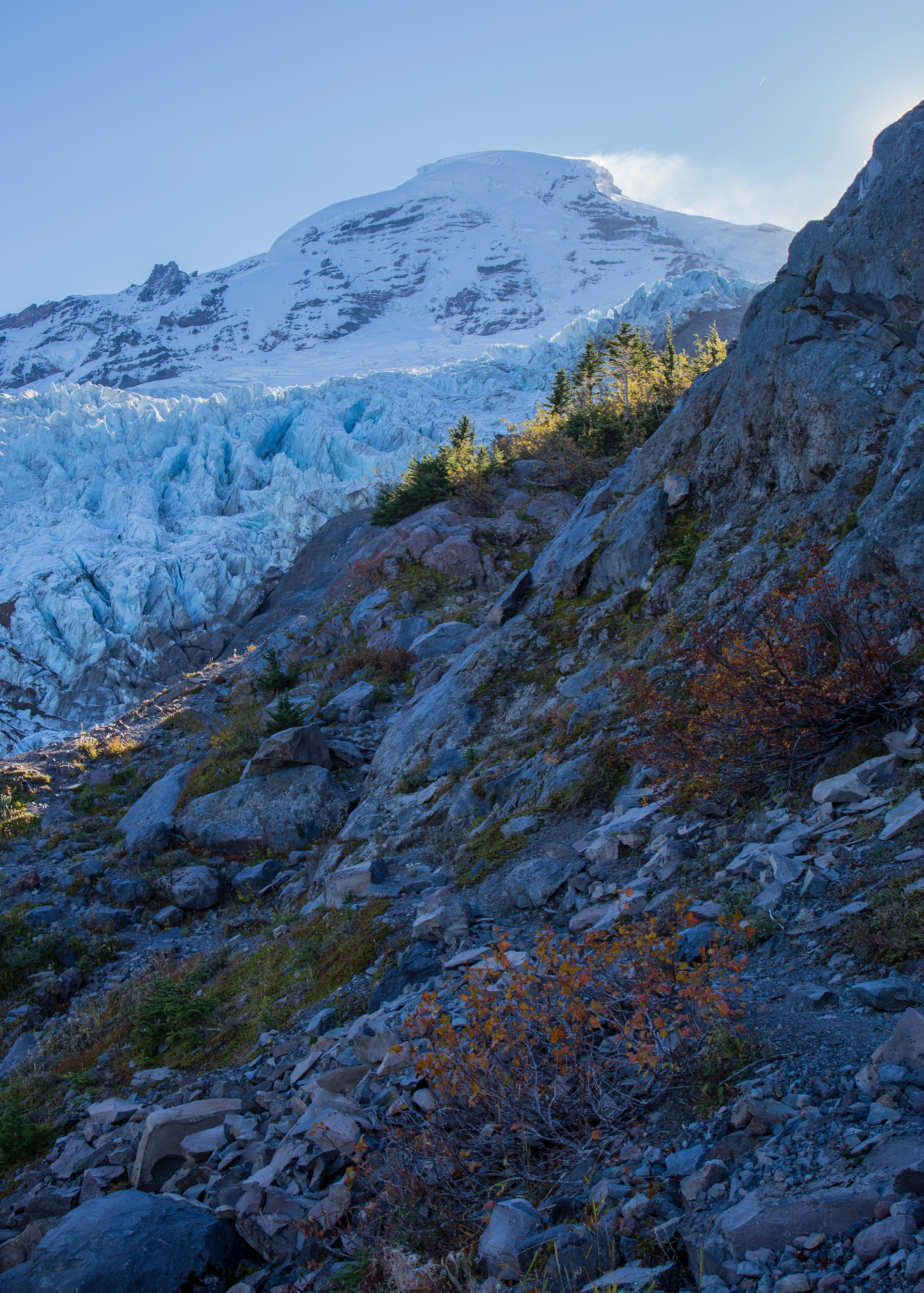 There's still quite a bit of glacier left on this side of the mountain, protected from the sun.