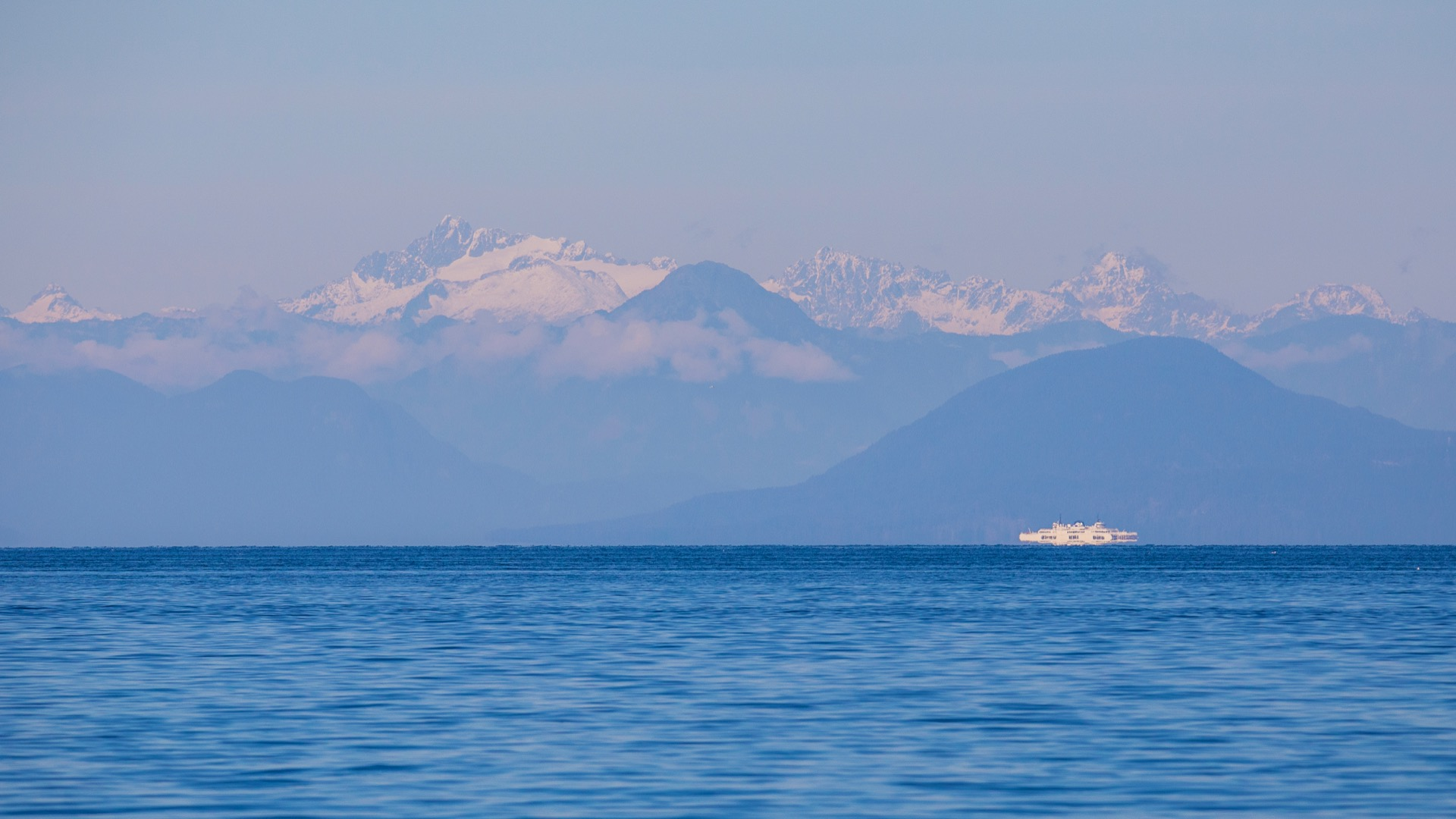A view out to the mountains on the mainland.