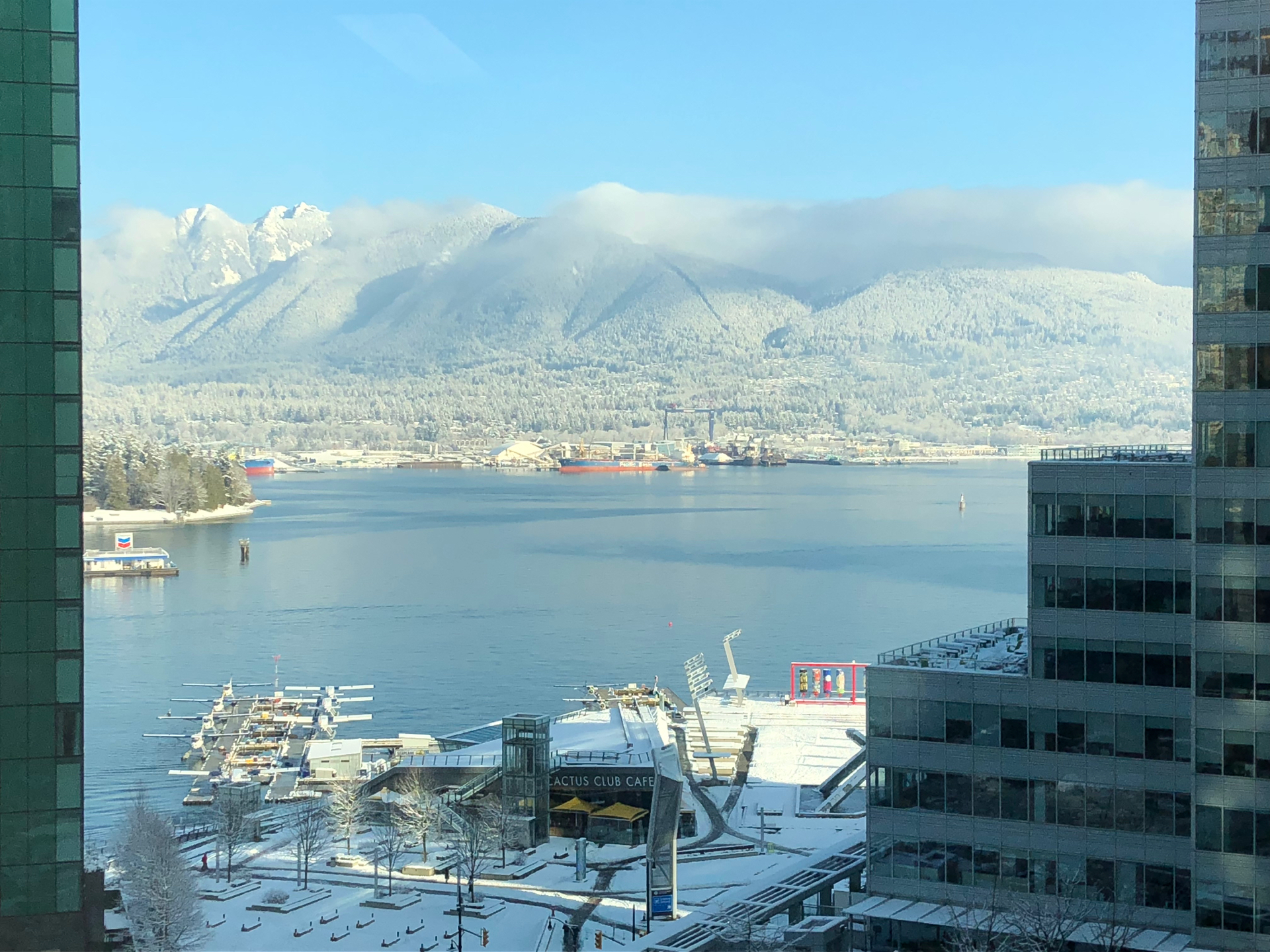 Every once in a while, you get a clear day after the snow, and this city looks spectacular. Justine took this picture of the north shore mountains from her office.