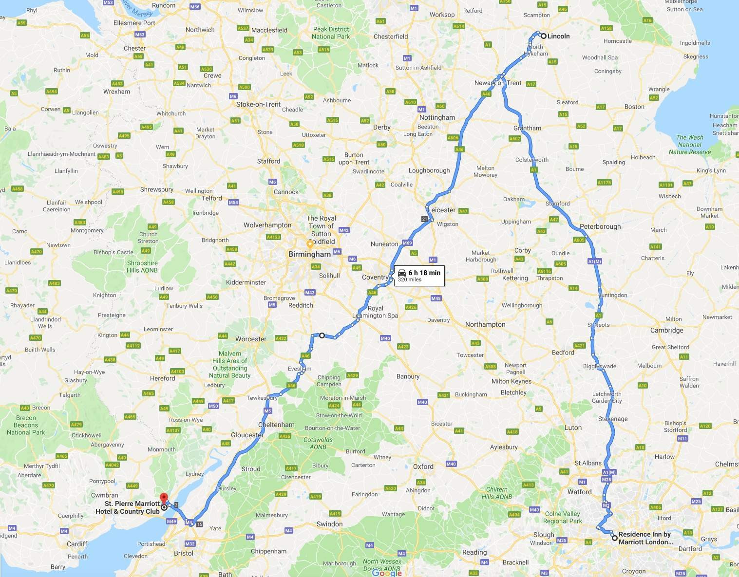 Our big day on the British motorways, as we probably covered about half the country.