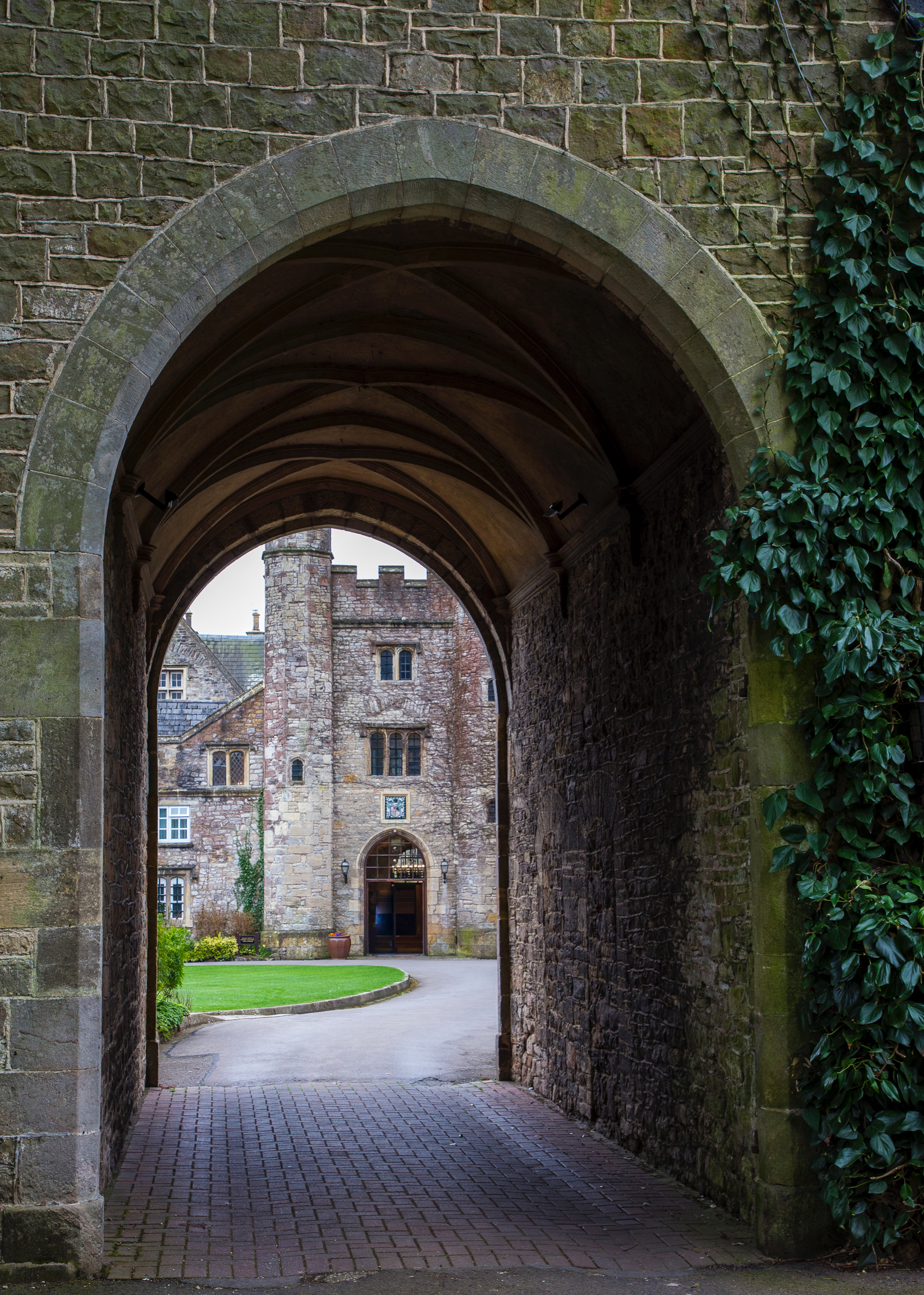 A view of the hotel through the original gatehouse.