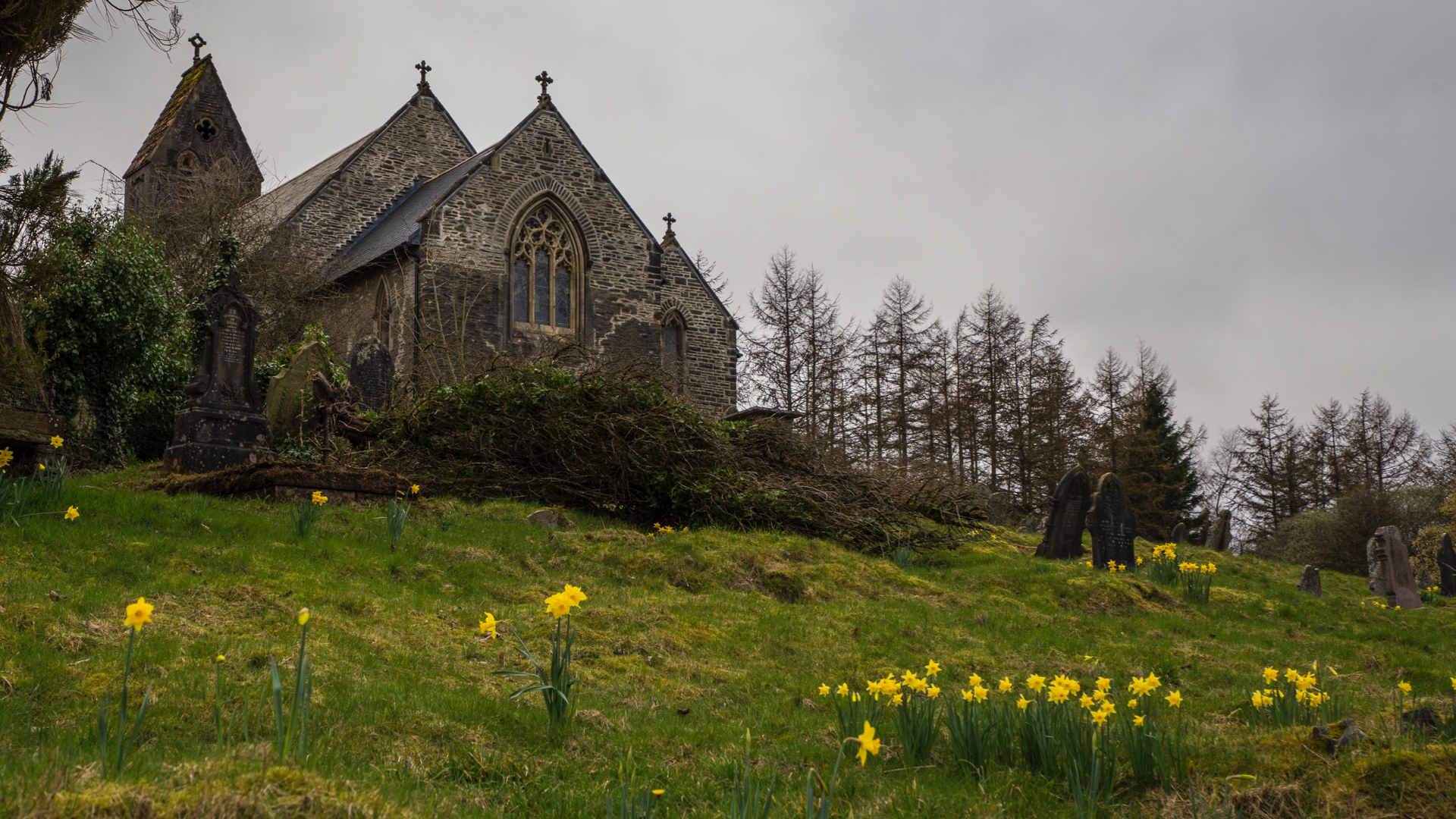 The church is perched up on quite a steep hill.