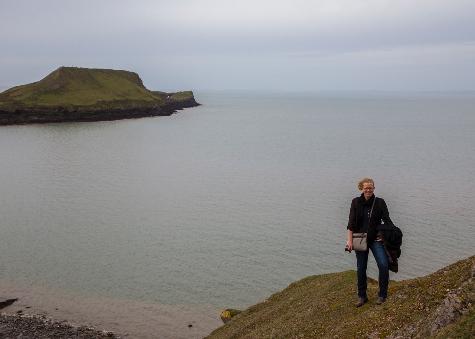 On the way back from the island, we hiked up high to get a view of the sea arch, which you can just see out in the distance on Worm's Head.