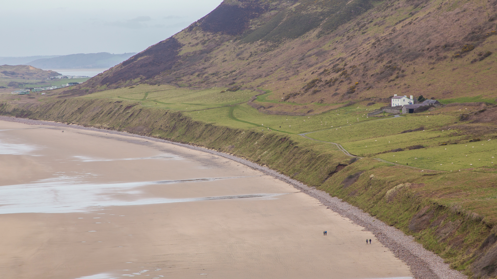 A great view of the massive beach, and the beautiful National Trust cottage that you can rent. It's pricey…