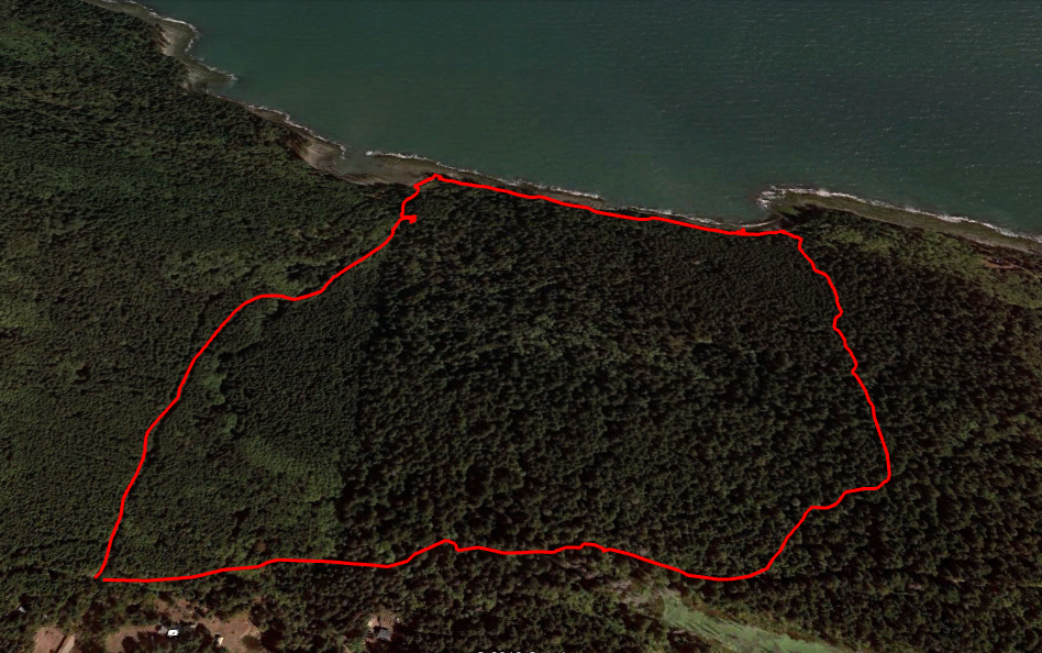 Our hike through Cable Bay (left side) and Pebble Beach (right side).