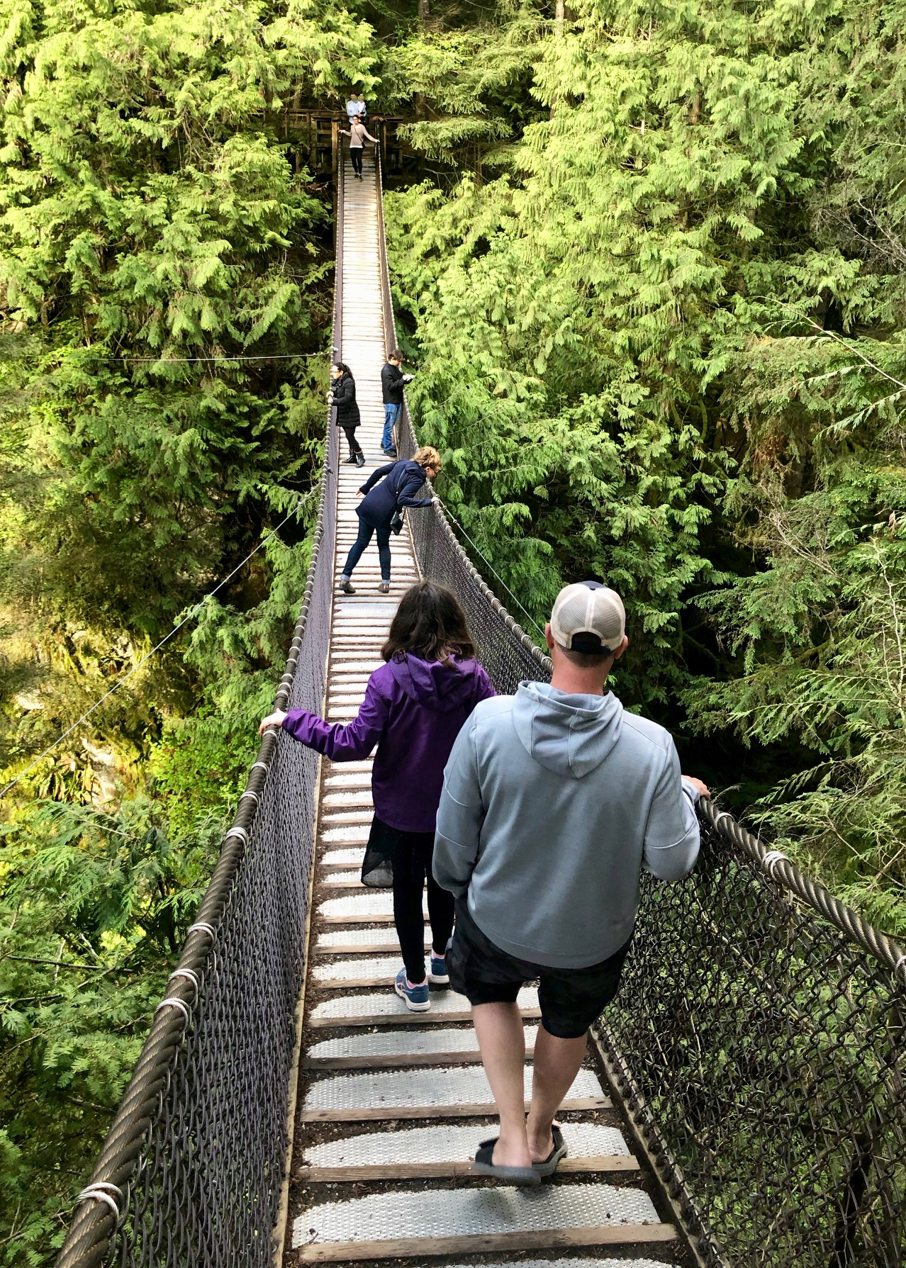 Heading over the suspension bridge - this wasn't Mackenzie's favorite part of the trip…