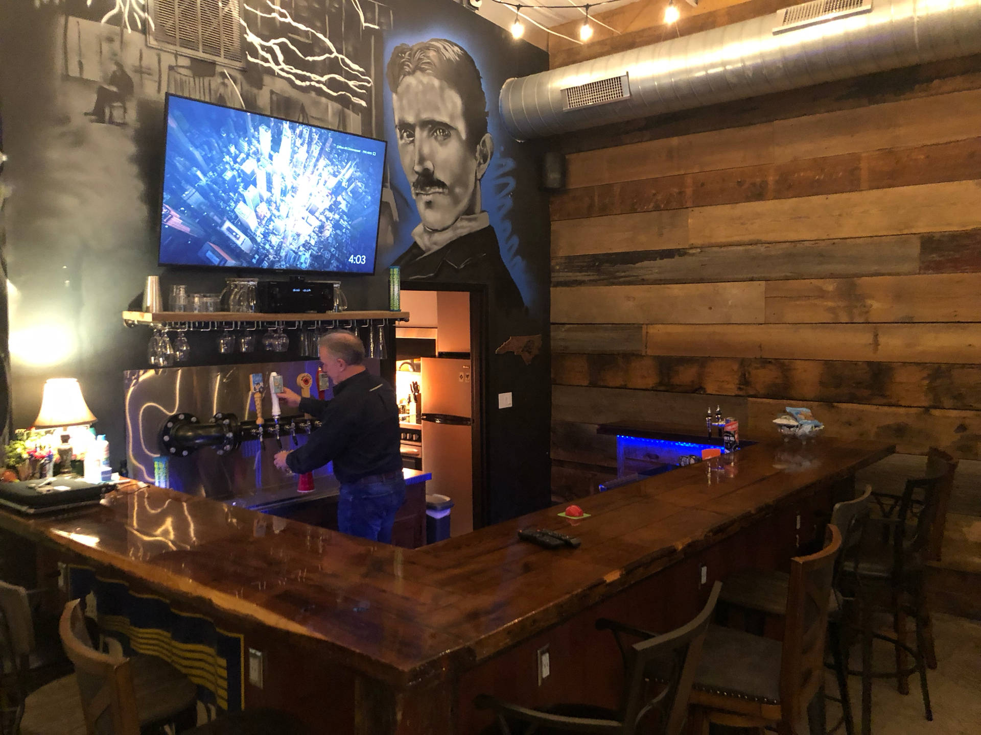 The bar, inside the office, with half a dozen local beers on tap!