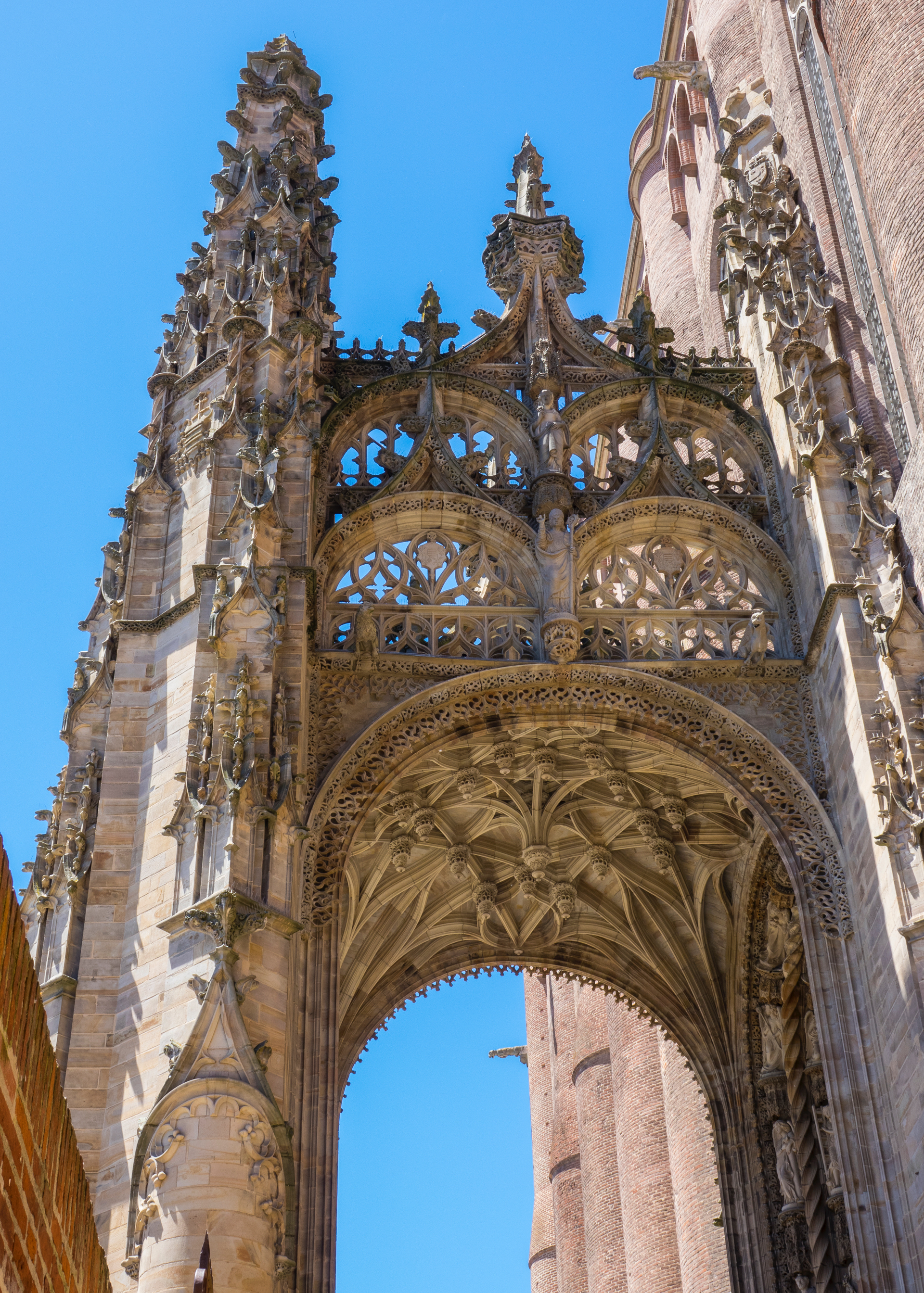 The very ornate, gothic entrance.