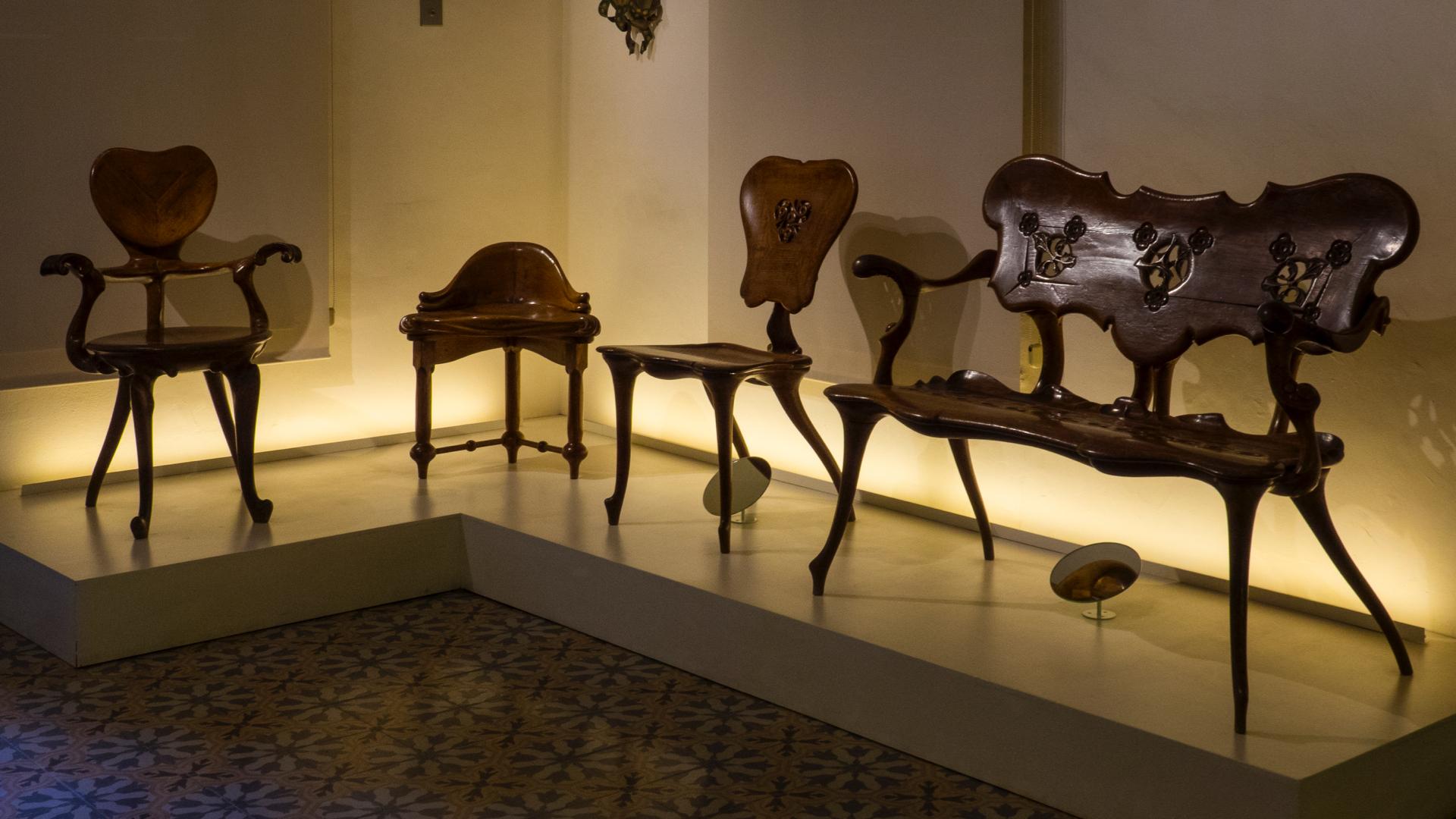 Some of the unique furniture that Gaudi had designed.