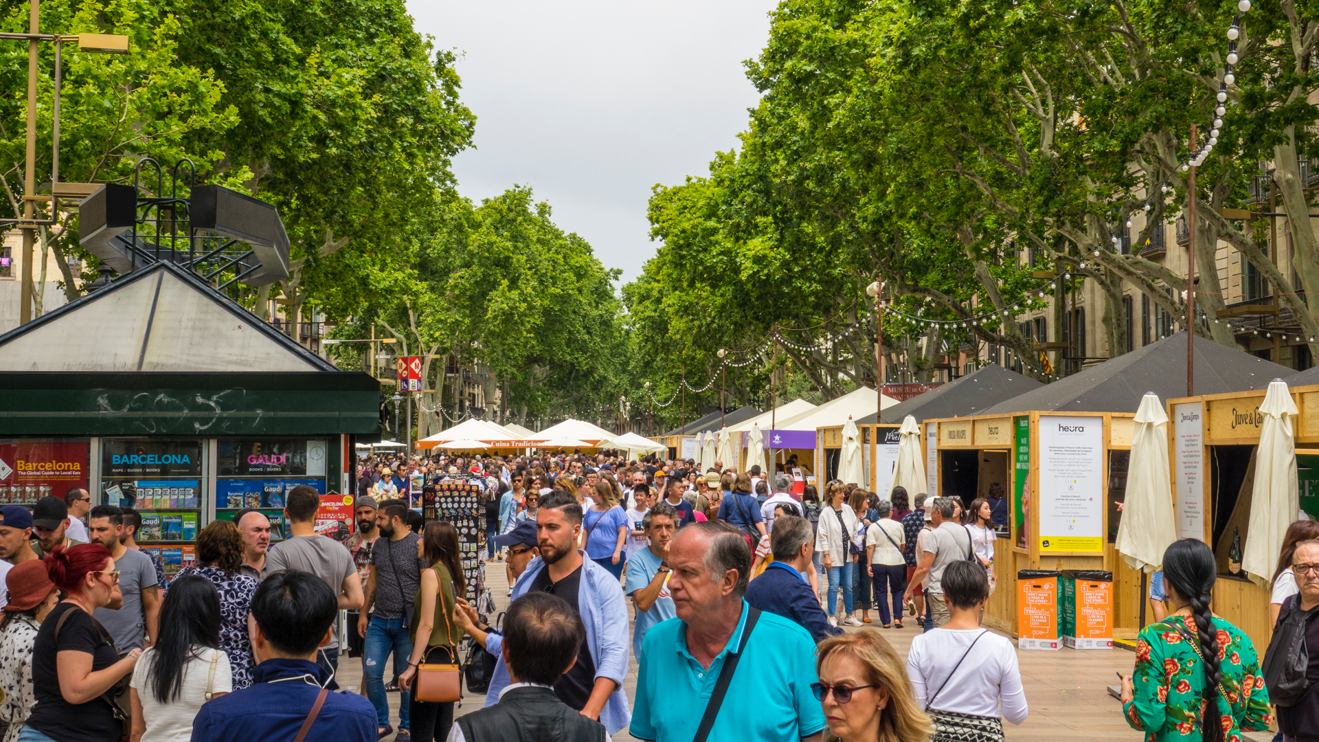 At the south end (beginning?) of La Rambla, there was a big open-air street food market set-up. It was packed, but seemed the perfect place to stop for a late lunch.