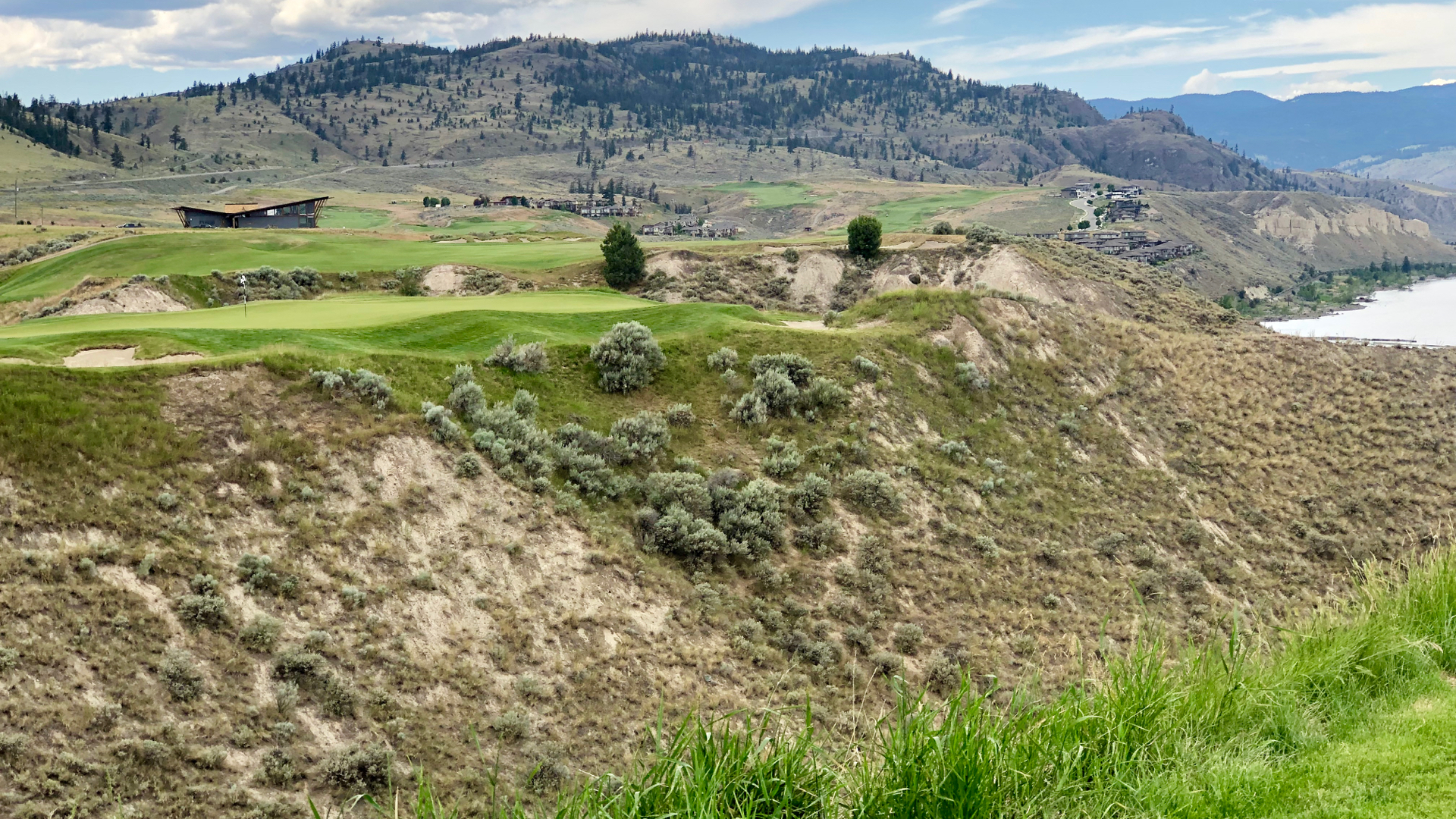 This is one of the toughest par 3s I've ever played. A narrow green perched on a cliff.