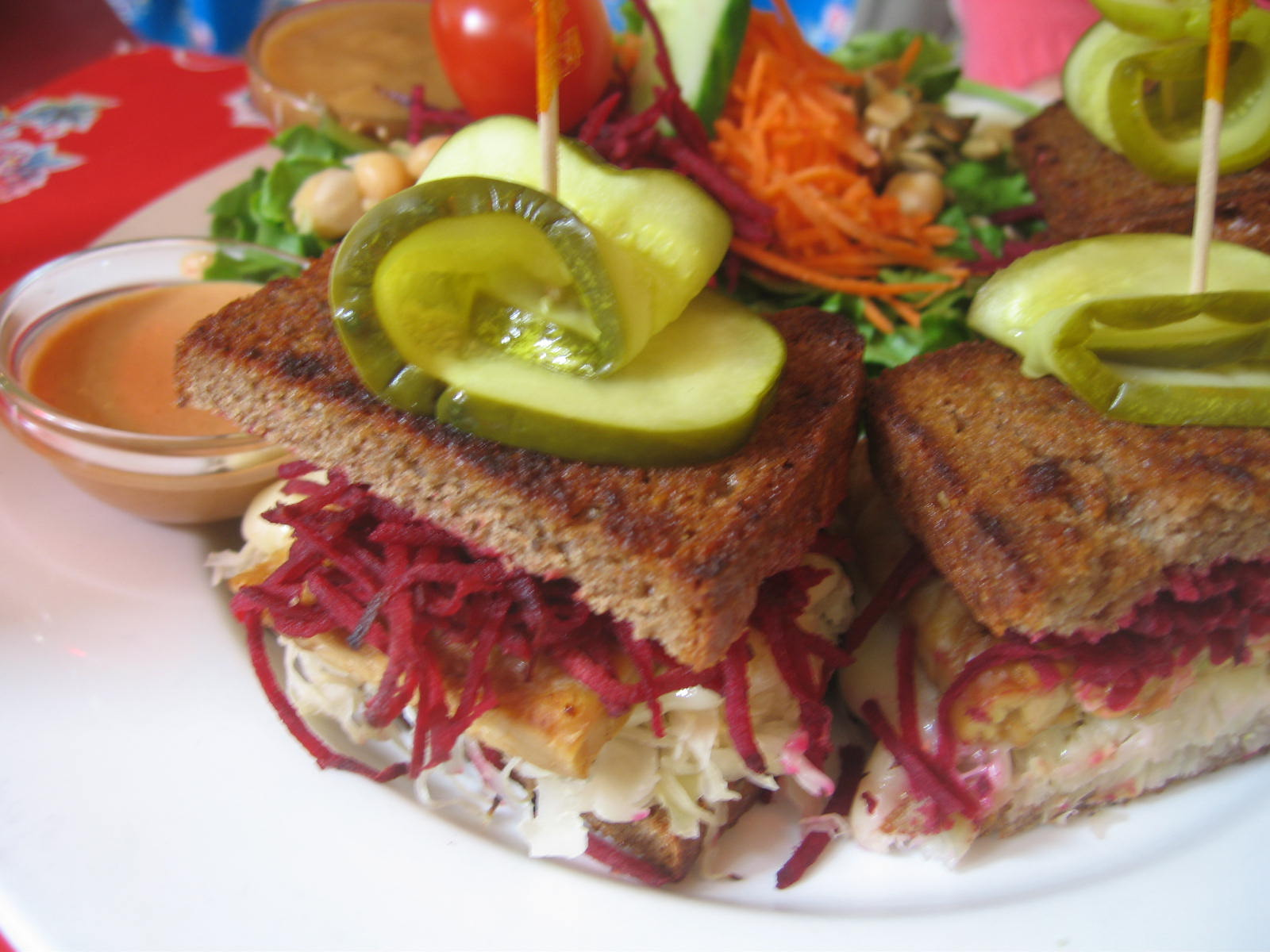 Tempeh Reuben with sauerkraut, pickled beets, and mustard. My mom loved it. I was a little jealous, not going to lie.