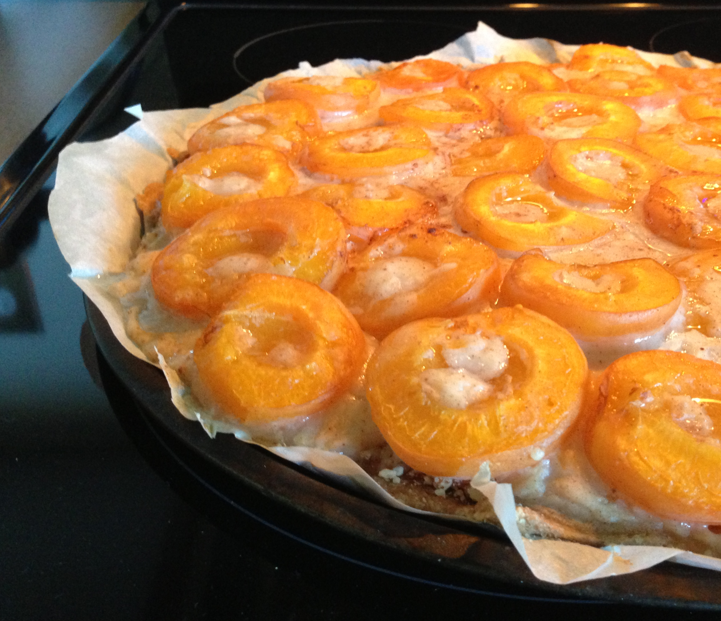 Fresh outta the oven -- still hot so there's some apricot juice on top