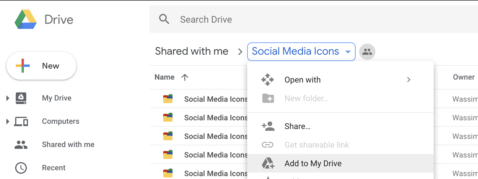 "Find Folder. Right Click/Dropdown. ""Add to My Drive"""
