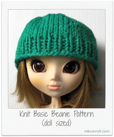Free knitting pattern for a Pullip-sized hat