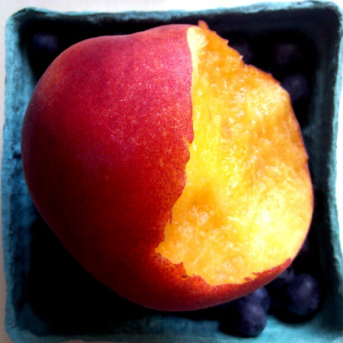 Blueberries and peaches - nothing quite like a good, fresh, tree-ripened peach!