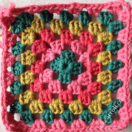 Granny square inspired by a textile print