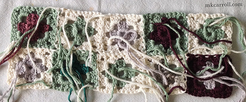 Small granny squares, back side shown