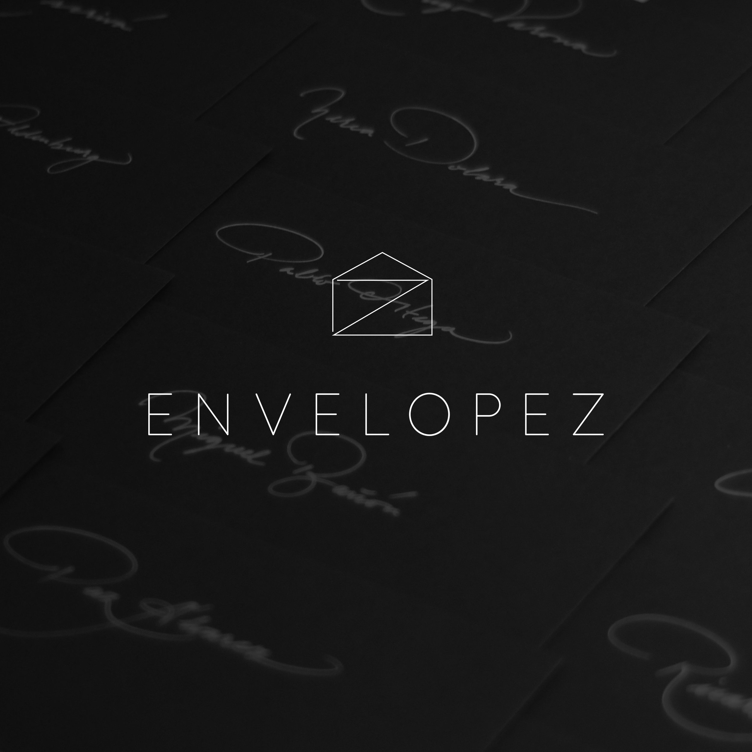 Naming and Brand ID for  ENVELOPEZ  Calligraphy Services.  Wedding Invitations, Menus, Seatings and every kind of envelopes.