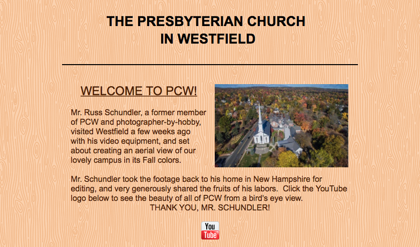 The Presbyterian Church in Westfield, NJ was thrilled to have an autumn aerial photo and video produced by Russ Schundler. Press        here    to link to church video