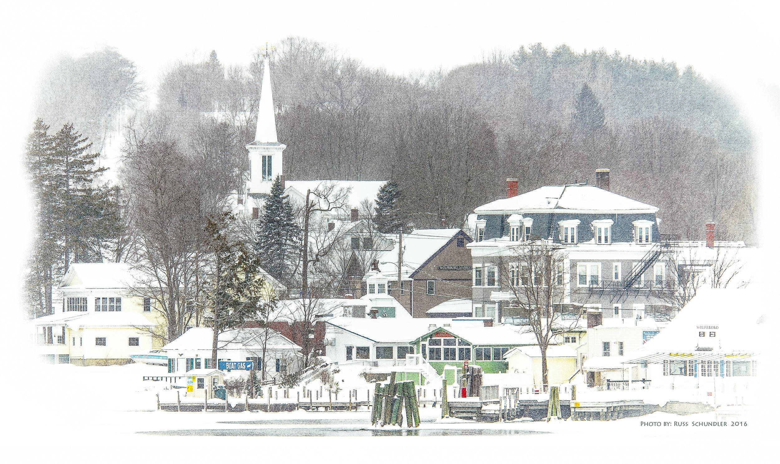 Wolfeboro Town Docks in Snow Storm