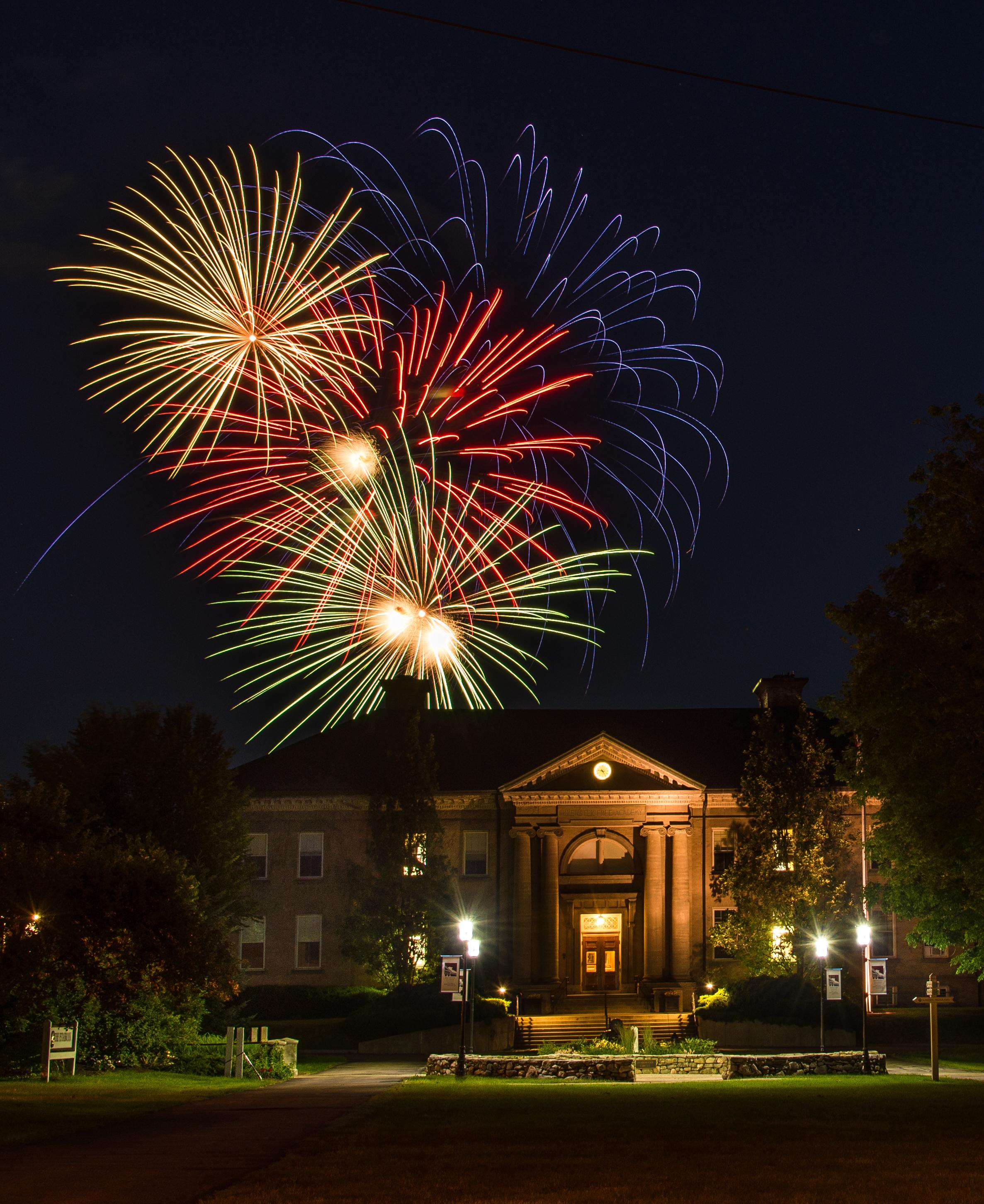Fireworks on Brewster Academy campus