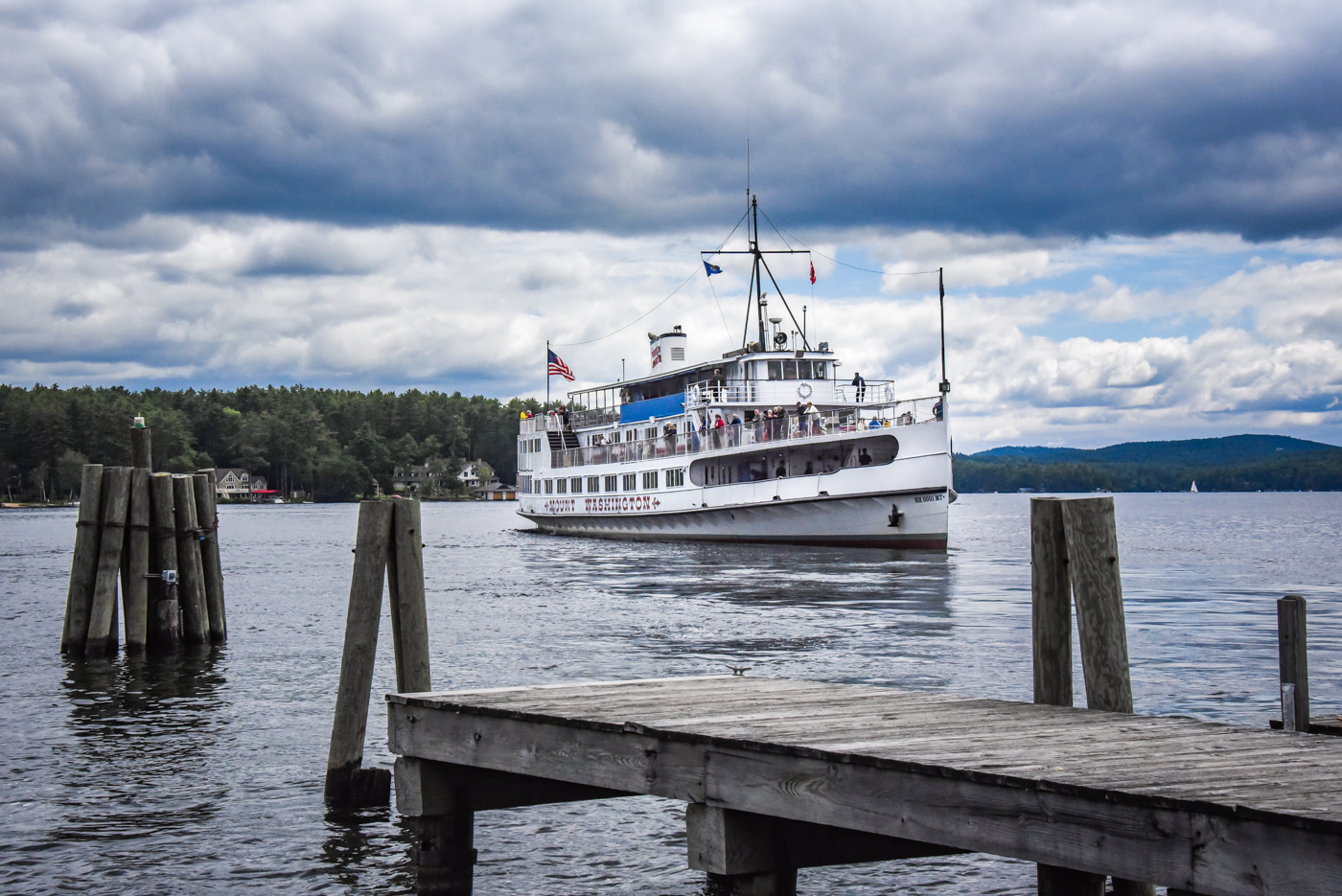 The MS Mount Washington approaches the Wolfeboro Docks
