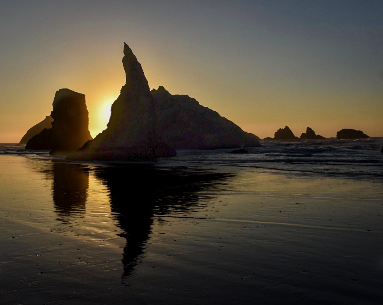 Sun setting on Bandon Beach