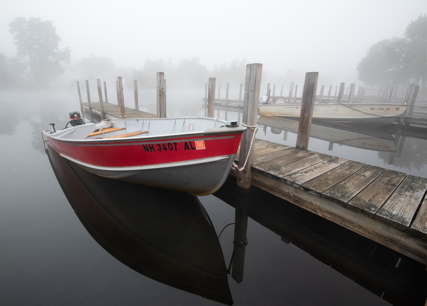 Boat Dock in Fog