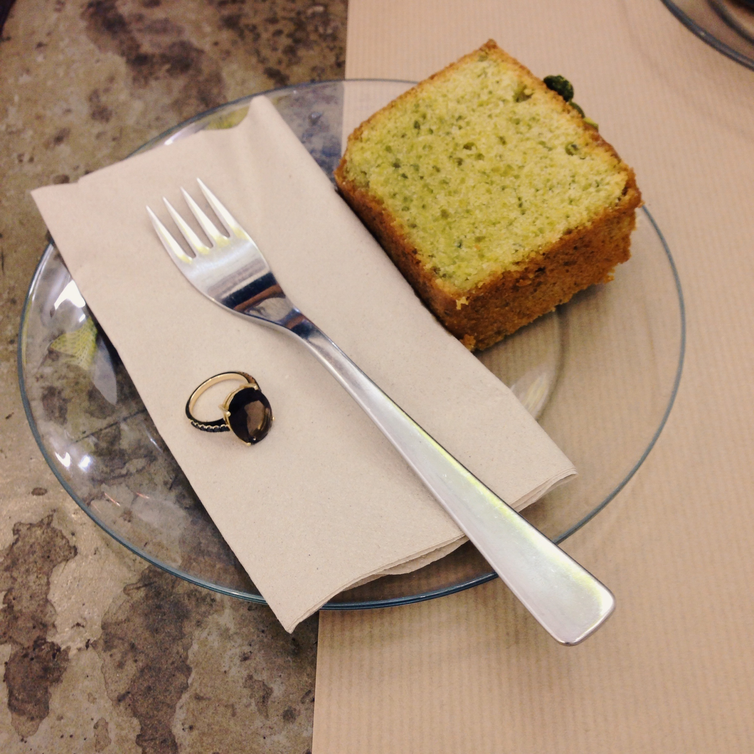 Engagement rings & pistachio cake at Rose Bakery, photo by  Ms Amy Farrell