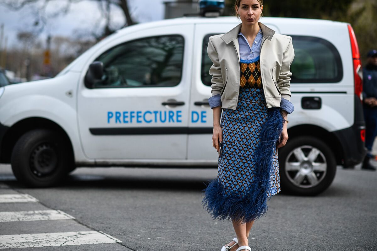 Trends : A Parisian love affair with pattern, Irina Lakicevic outside PFW by Hugo Lee