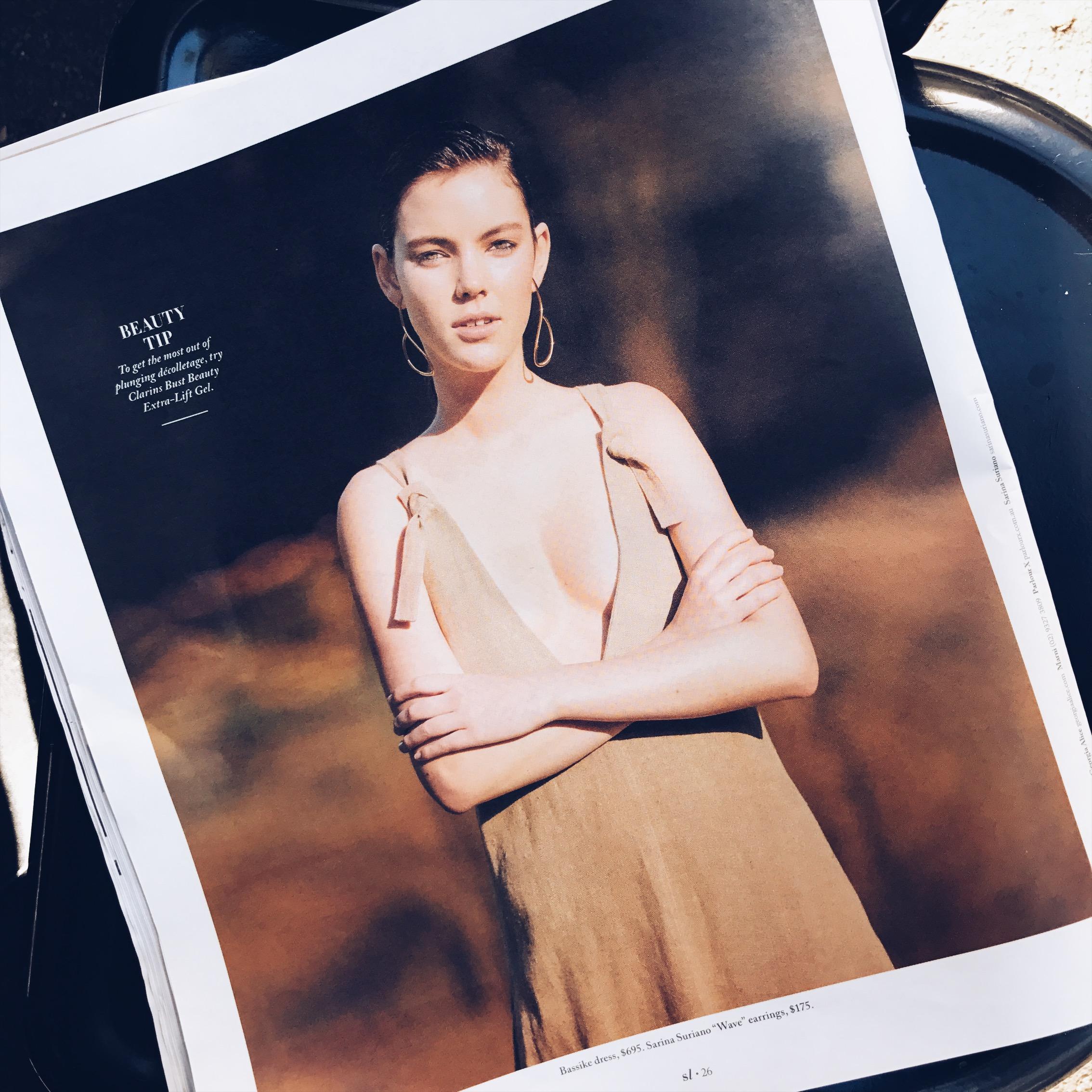 Sarina Suriano earrings in Sunday Life Magazine