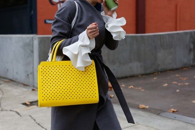 Yellow punched leather tote, captured by the Street Smith for Vogue Australia