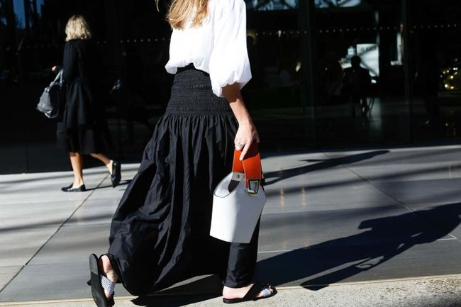 Another take on the bucket bag trend, captured by the Street Smith for Vogue Australia
