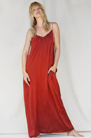 NATALIJA Floor length silk dress - Rust