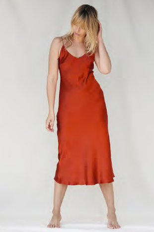 NATALIJA silk slip dress - Burnt Orange