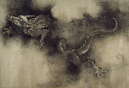 One of the dragons from The Nine Dragons handscroll (九龙图/九龍圖), painted by the Song-Dynasty Chinese artist Chen Rong (陈容/陳容) in 1244 CE.