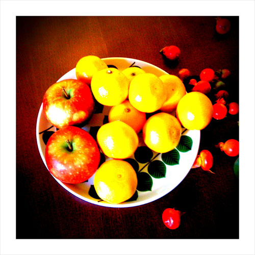 iPhone photography: satsumas, apples and rose hips