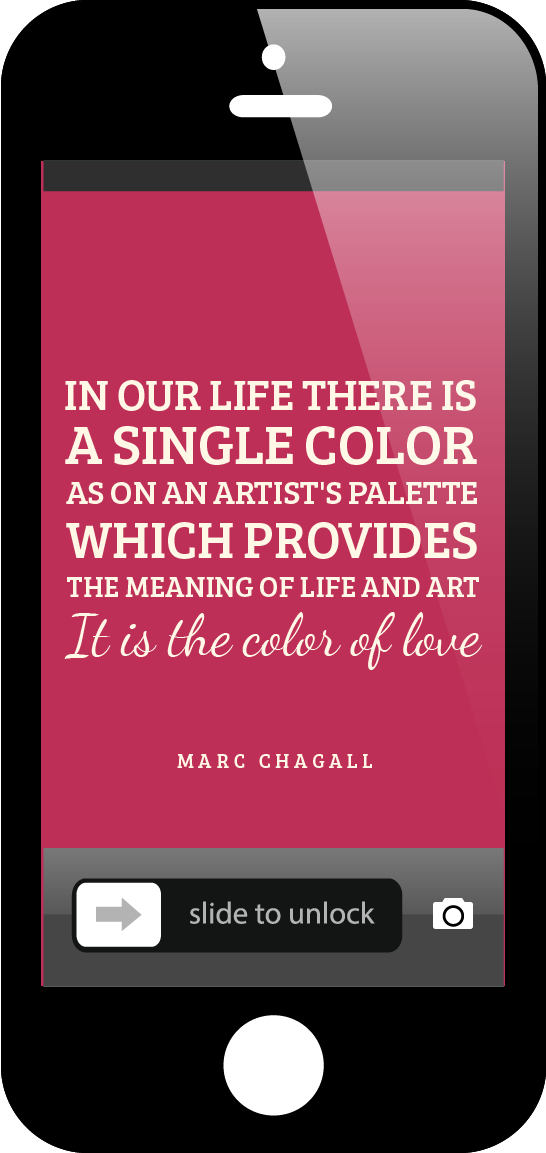 """In our life there is a single color, as on an artist's palette, which provides the meaning of life and art. It is the color of love."" Marc Chagall"