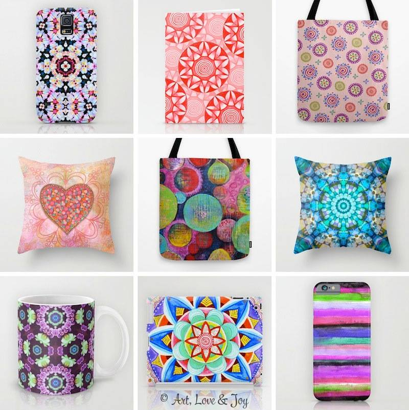 ALJ Society6 Products designed by  Wini Dougall of Art, Love & Joy.