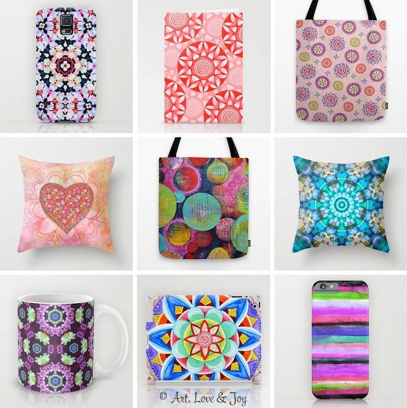 ALJ Society6 Products designed by Wini Dougall of Art, Love & Joy.