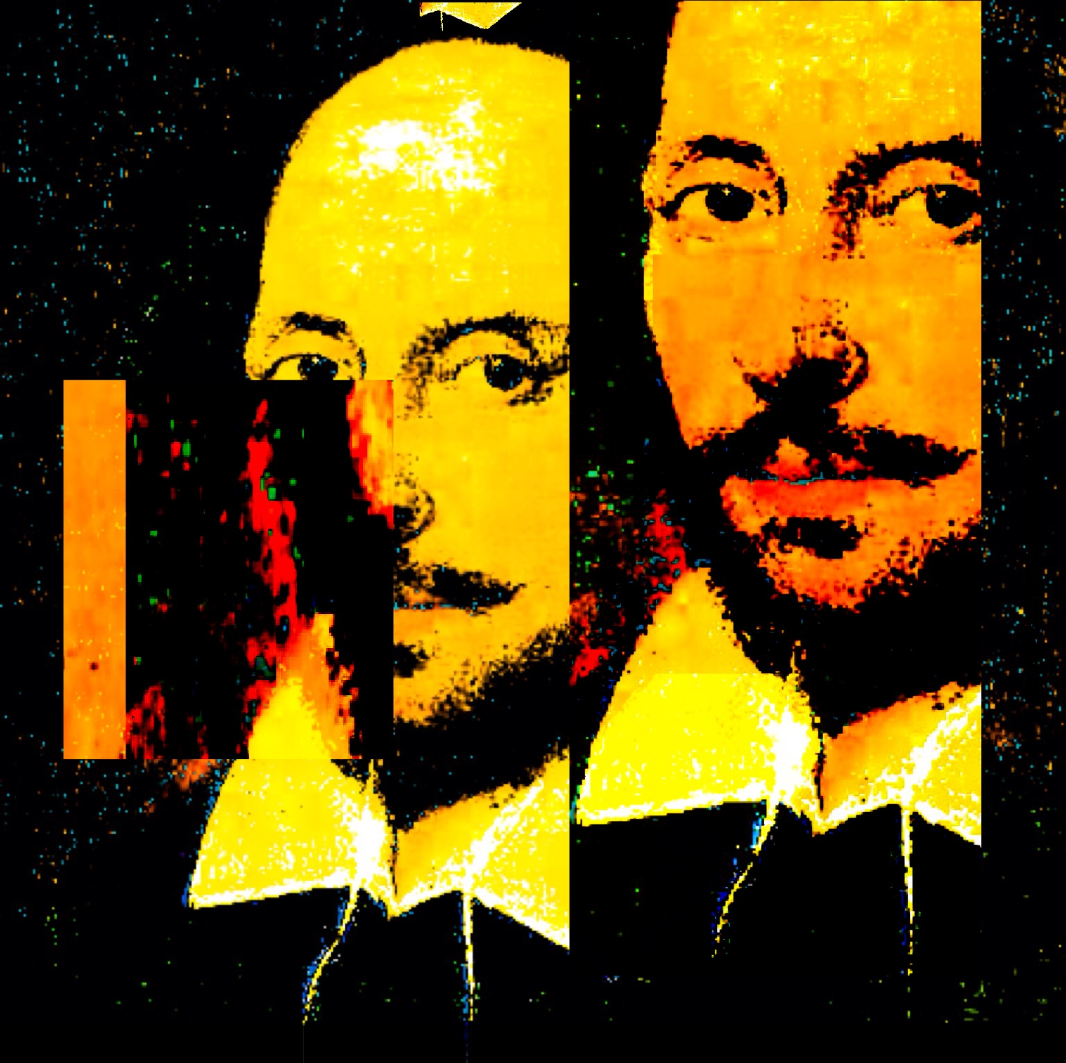William Shakespeare. Digital glitches by Kate England.