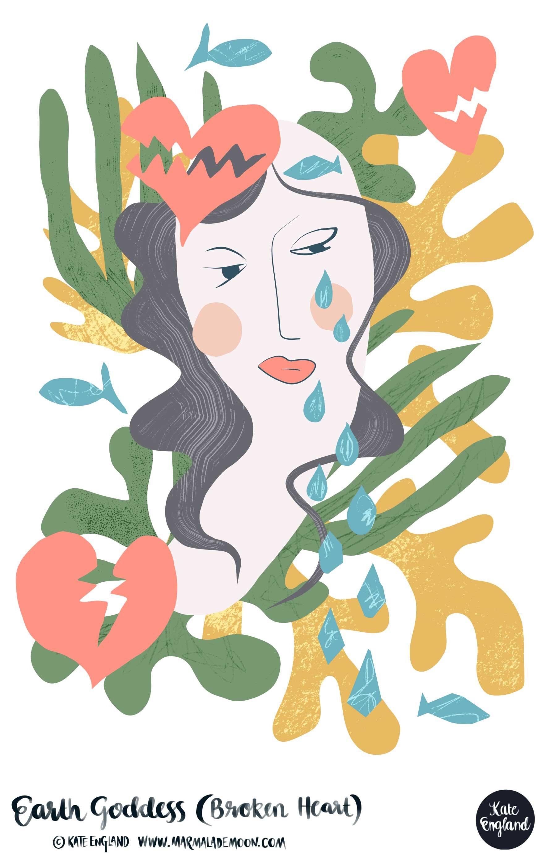 Earth Goddess (Broken Heart). Editorial illustration.