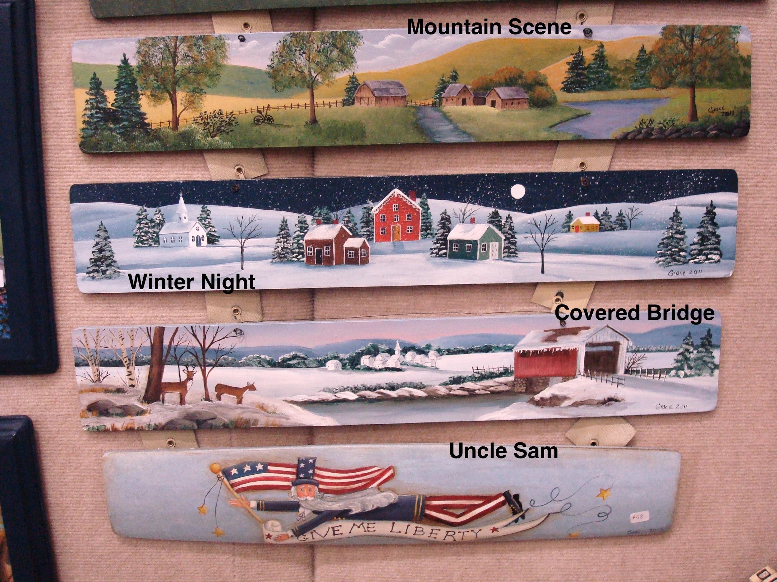 Mountain Scene / Winter Night / Covered Bridge / Uncle Sam