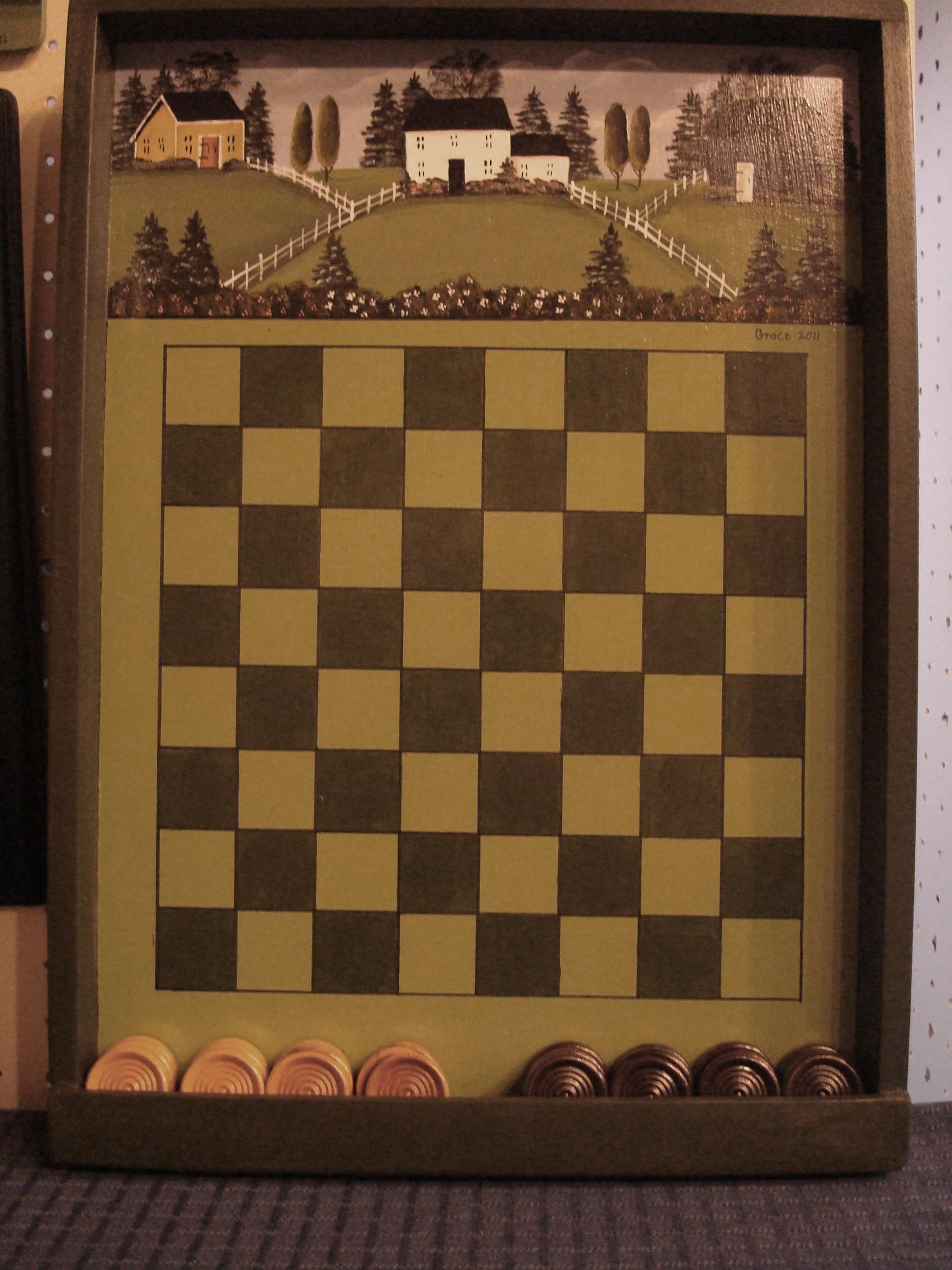 Green Checkerboard & Bin
