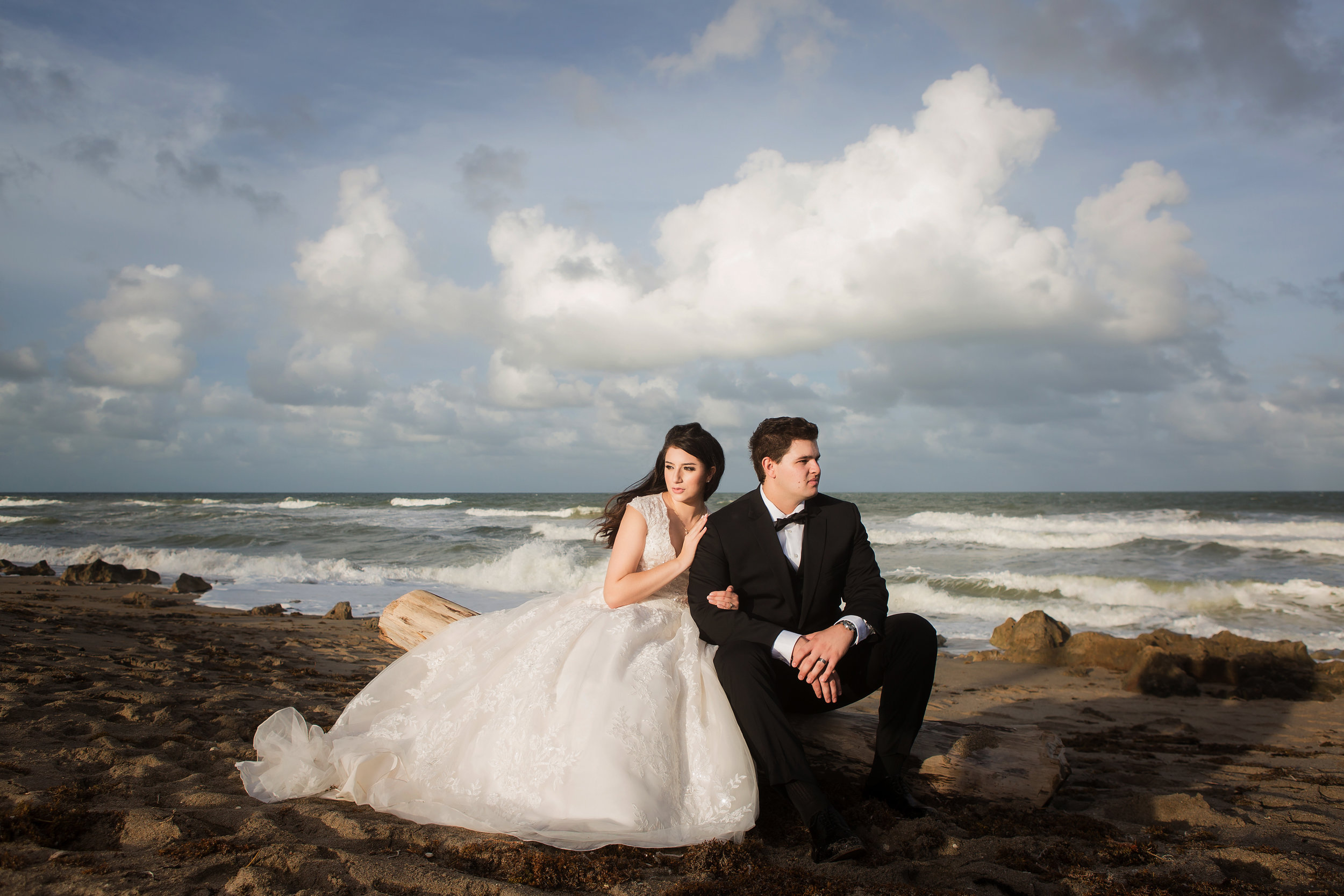 Bride and groom portrait session at the beach.
