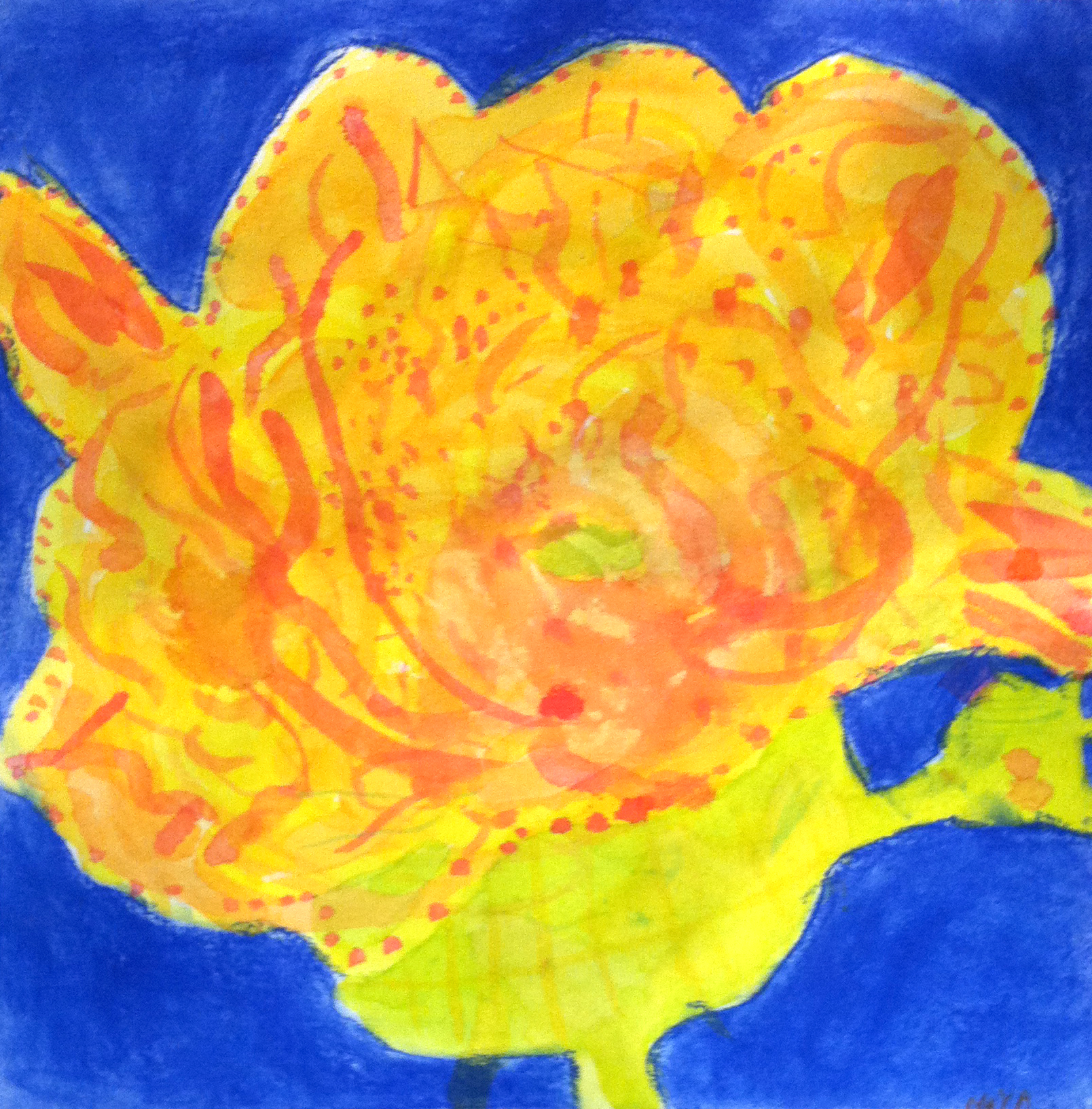 Observational Painting of a Flower, Age 5
